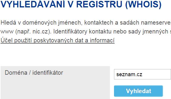 Whois cz domena